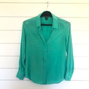 J. Crew Factory Silk Blouse Turquoise